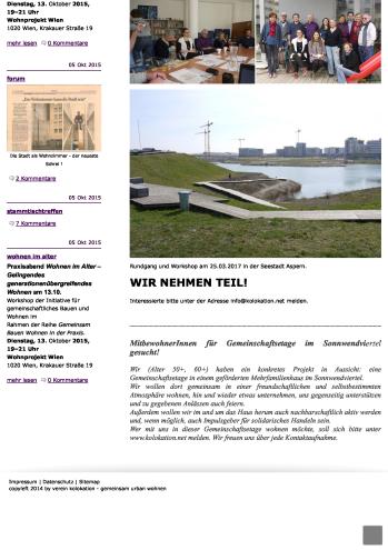 Eindruck der alten Homepage